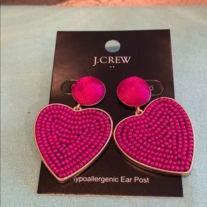J. Crew Pink beaded heart drop earrings